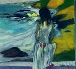 Harry Weisburd - Mulher no vestido Sheer By The Sea