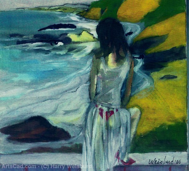 Obra De Arte >> Harry Weisburd >> Mulher no vestido Sheer By The Sea