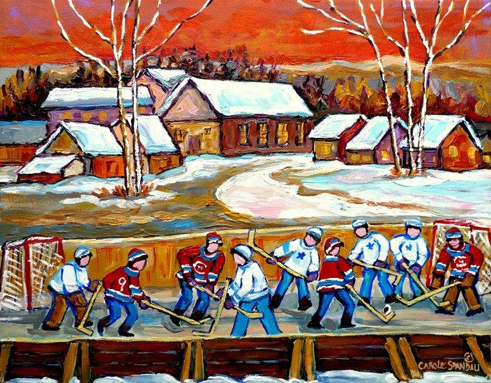 Obra de arte carole spandau paysage quebecois for Patinoire exterieur montreal